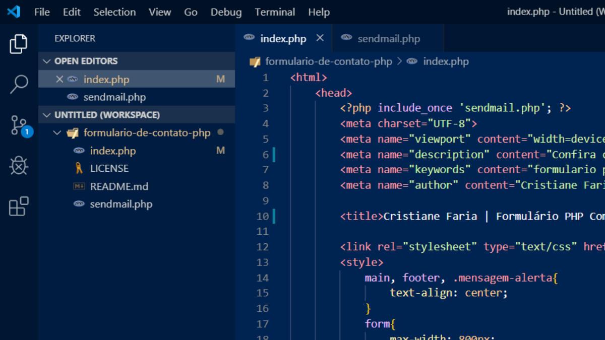 Tela do editor de código visual studio code